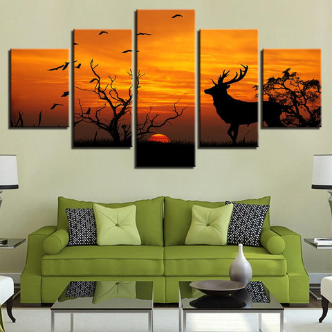 Birds Tree Forest Animal Deer Sunset Silhouette - Mystikz Gaming