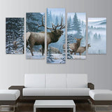 Elk Family In Snow Pine Tree Landscape Fashion Deer - Mystikz Gaming