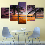 Sunset Beach Palm Trees Seascape