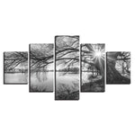 Lakeside Big Trees Black White Landscape - Mystikz Gaming