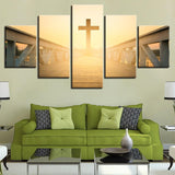 Sunrise Jesus Cross Long Bridge Landscape Paintings