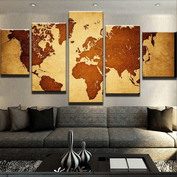 Vintage World Map On And On The Wall