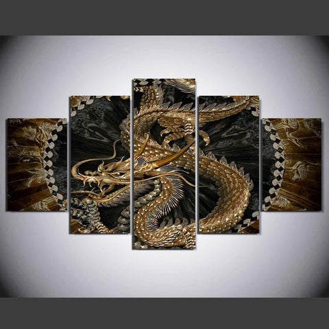 Set Traditional Chinese Gorgeous Dragon Totem Art On Artworks