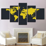 Yellow And Black World Map