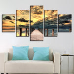 Posters Sunset Long Bridge Seascape - Mystikz Gaming