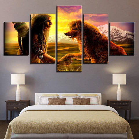 Decor Native American Indian With Animal Wolf - Mystikz Gaming