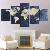 Office Gray Blue World Map Abstract - Mystikz Gaming