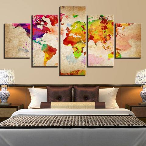 Vintage Color World Map Abstract Watercolor
