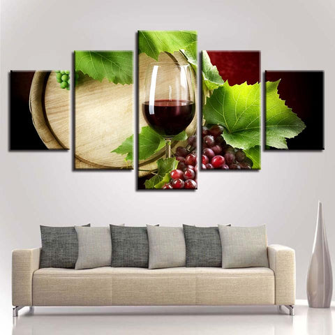 Kitchen Rwine Glass Grape Leaves Oak Barrel - Mystikz Gaming