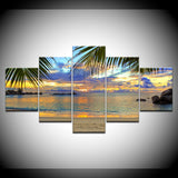 Sunset Beach Coconut Tree Seascape