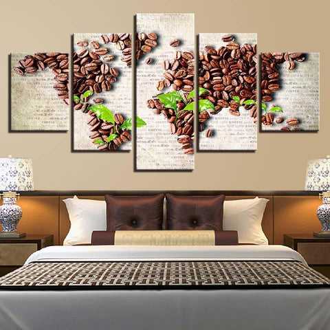 Coffee Bean Green Leaf World Map - Mystikz Gaming