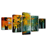 Yellow Leaves Forest Trees Abstract