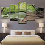 Trees Forest Bridge Flowing Water Landscape