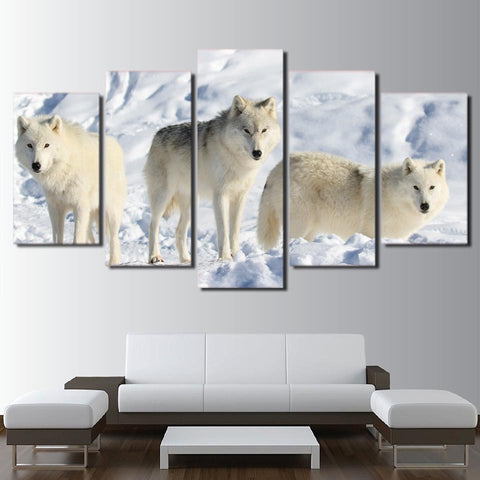 White Wolves In Snow