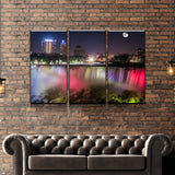 Niagara At Night Landscape Canvas Art