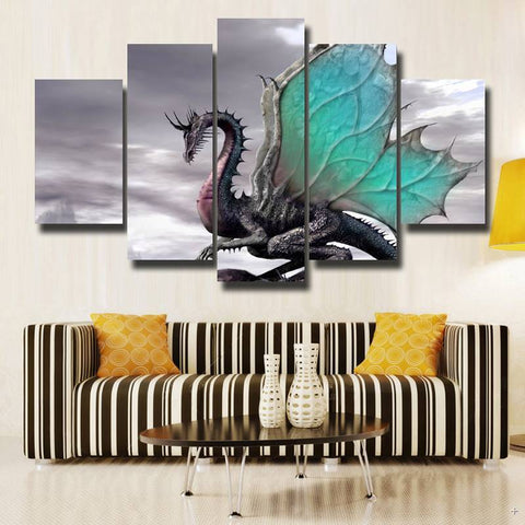 Gray Dragon Canvas Art