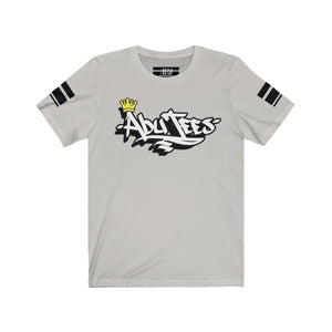 "White 3D Ink ""AbuTees"" Black Stripe Jersey 