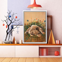 Load image into Gallery viewer, Bunny and Flowers print of original painting