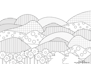 Colouring Page - Patterned Hills