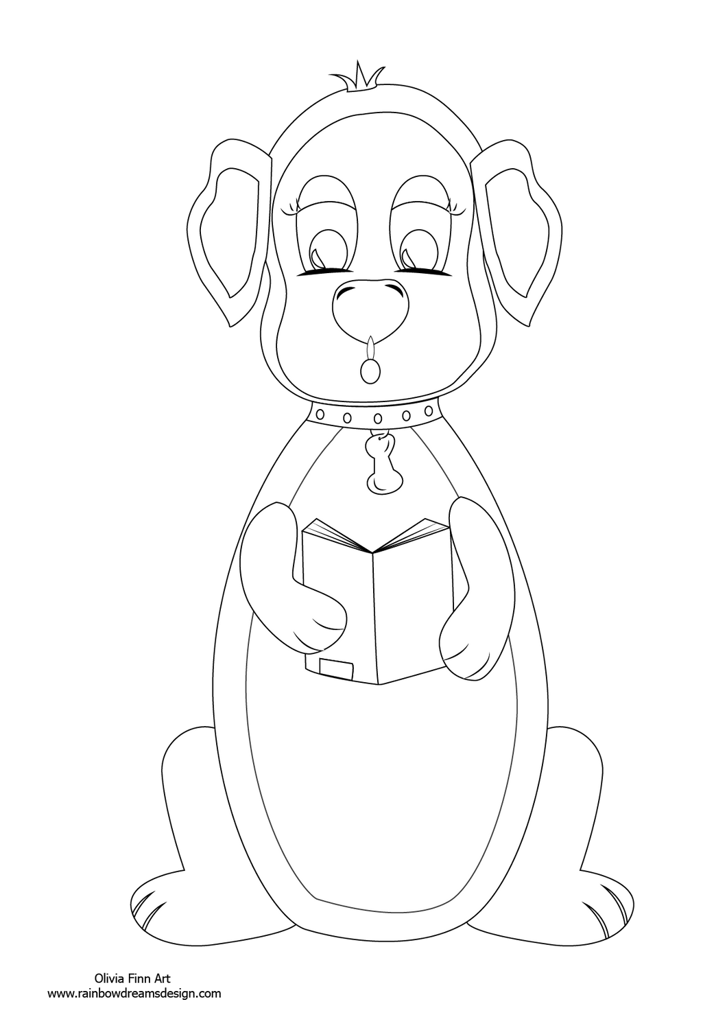 Colouring Page - Dog Reading