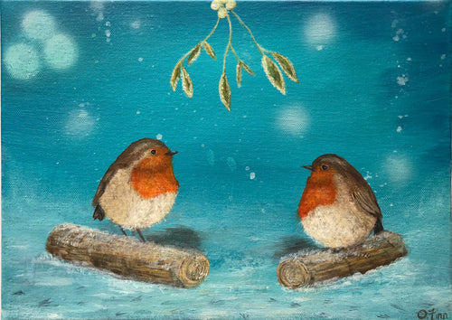 Robins under Mistletoe
