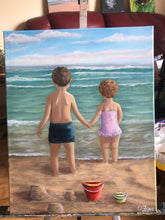 Load image into Gallery viewer, Girl and boy with red bucket on the shore