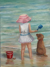 Load image into Gallery viewer, Girl and dog with red bucket on the shore