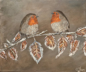 Robins on a Frosty Branch