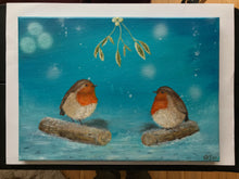Load image into Gallery viewer, Robins under Mistletoe