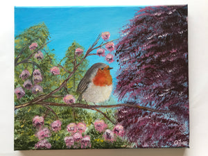 Robin with Blossoms