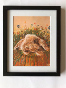 Bunny and Flowers print of original painting