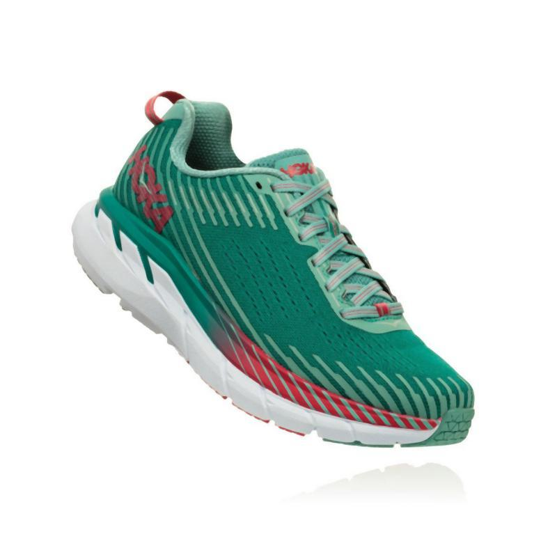 Hoka Women's Clifton 5 Running Shoe: Green-Blue Slate/Canton-Road Running Shoes-Likeys