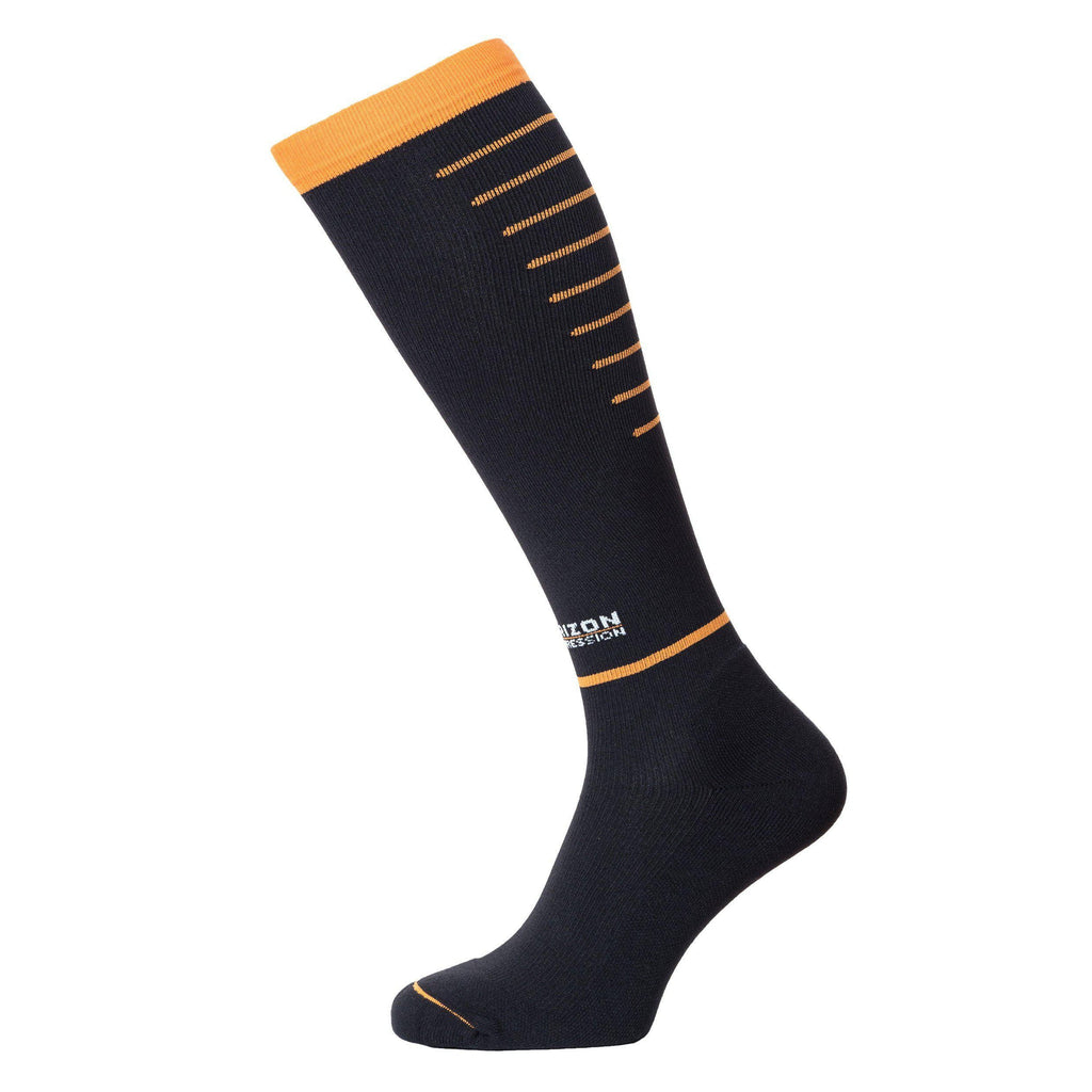 Horizon Compression Over Calf Sock-Socks-6-8.5-Black Orange-Likeys
