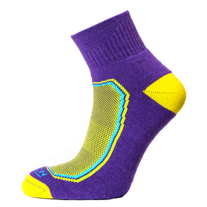 Horizon Women's Premium Quarter Sock - Purple/Yellow-Socks-Likeys