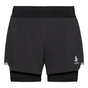 Odlo Men's Zeroweight Ceramicool 2-in-1 Shorts: Black-Shorts-Likeys