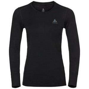 Odlo Women's Natural Sports Underwear Merino LS Baselayer Crew Neck Top-Baselayers-Likeys