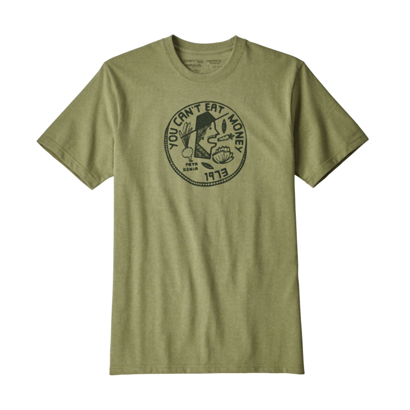 Patagonia Men's Can't Eat Money Responsibili-Tee: Crag Green-Tees-Likeys