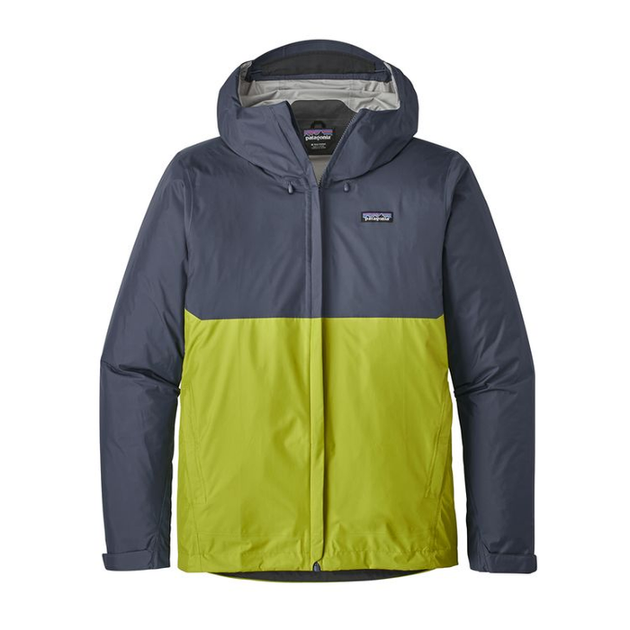 Patagonia Men's Torrentshell Jacket: Dolomite Blue/Gecko Green