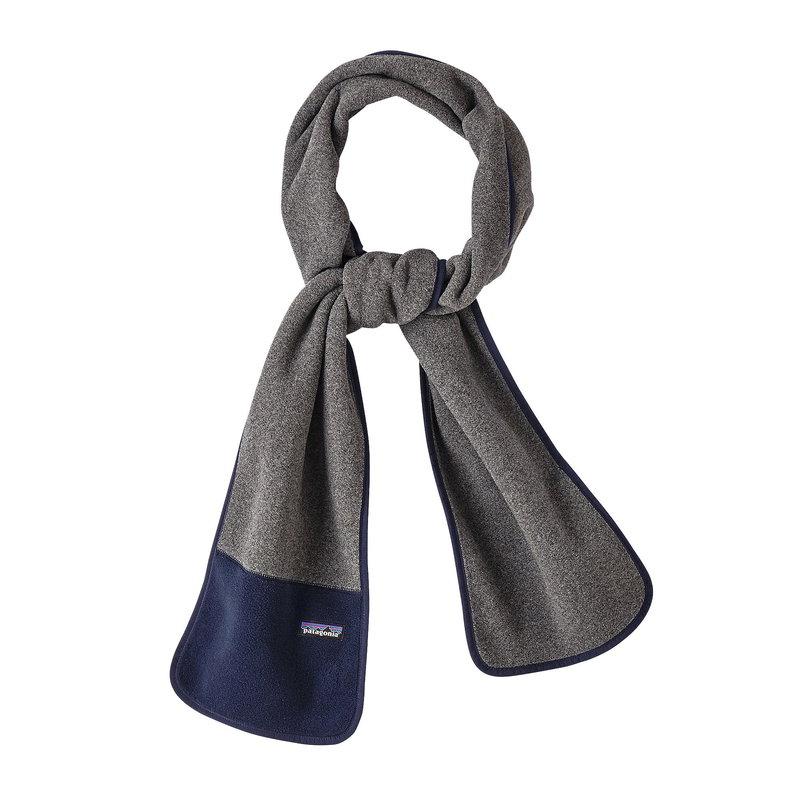 Patagonia Synchilla Fleece Scarf: Nickel/Navy Blue-Headwear-One Size-Likeys
