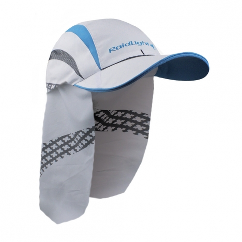 Raidlight Sahara Cap: White/Electric Blue-Headwear-One Size-Likeys
