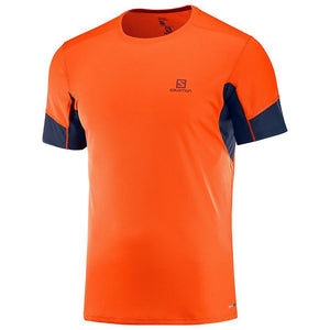 Salomon Men's Agile SS Tee-Tees-Large-Scarlet Ibis/Night Sky-Likeys