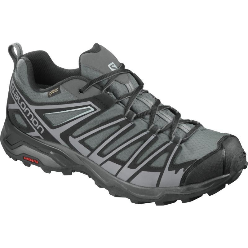 Salomon Men's X Ultra 3 Prime GTX: Castor Gray/Beluga/Green Sulphur-Trekking Shoes-Likeys