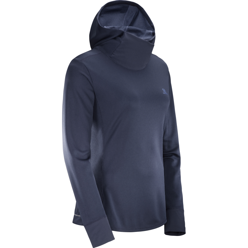 Salomon Women's Agile LS Hoodie: Night Sky/Crown Blue-Tees-Likeys
