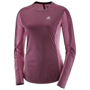 Salomon Women's Agile LS Tee: Fig/Beet Red-Tees-Likeys