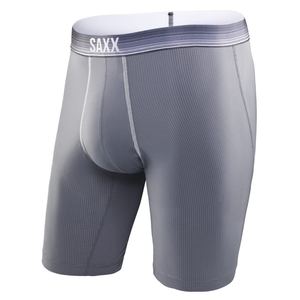 SAXX Quest 2.0 Long Leg Boxer: Dark Charcoal/Ombre Stripe-Underwear-Likeys