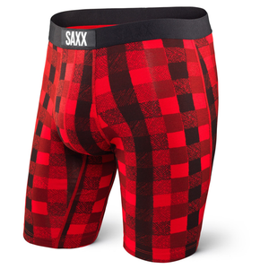 SAXX Vibe Long Leg Boxer: Red/Lumberjack Plaid-Underwear-Likeys