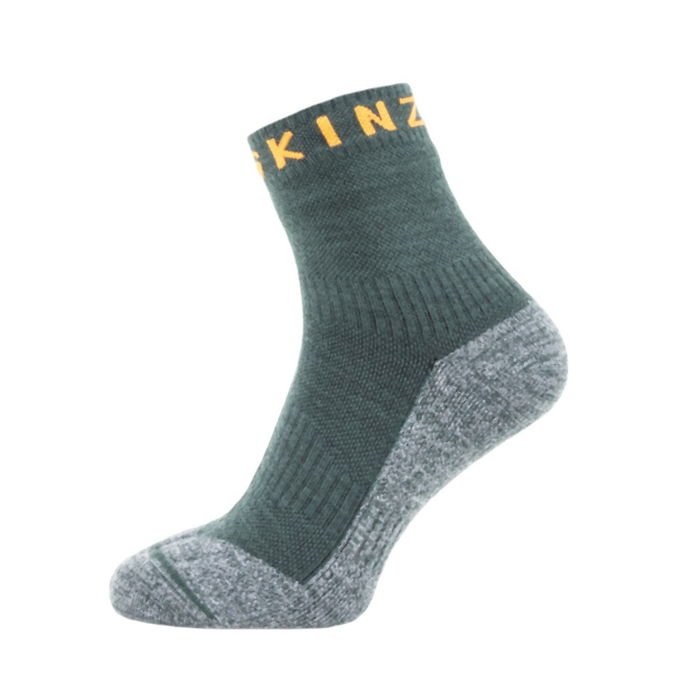Sealskinz Soft Touch Ankle Length Sock: Green/Grey/Orange