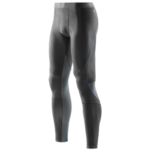 Skins Men's RY400 Long Tights: Graphite/Blue-Leggings-Likeys