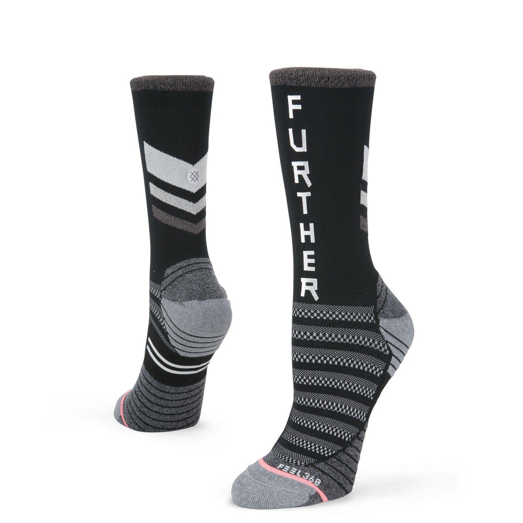 Stance Run Women's Faster Further Crew: Black-Socks-Likeys