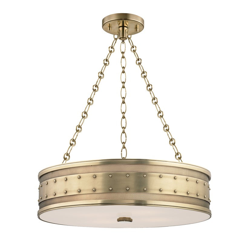 AGED BRASS GAINES CHANDELIER